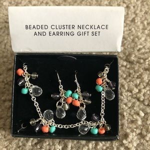 Avon Beaded Cluster Necklace with Earrings Set